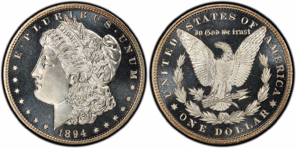 "This 1894 silver dollar, graded PCGS PR68+DCAM, is one of the superb quality coins in the ""Mr. Perfection 13"" collection of proof Morgan dollars that will be publicly exhibited by the PCGS Set Registry® for the first time anywhere at the 2019 FUN convention. (Photos courtesy Professional Coin Grading Service, www.PCGS.com)"