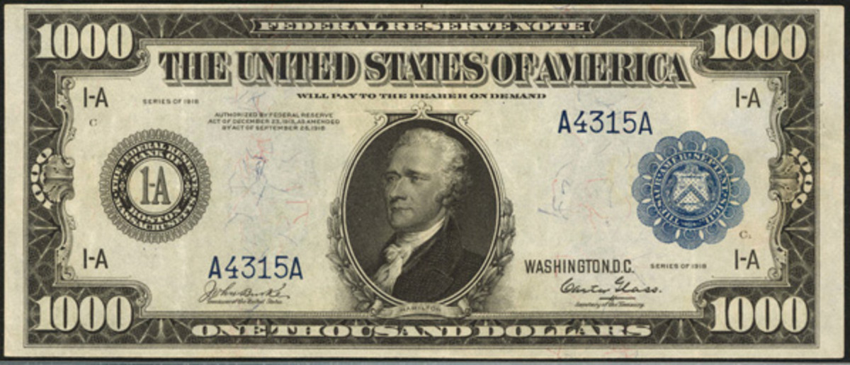 This 1918 $1,000 Boston Federal Reserve Note, Fr. 1133-A, in PCGS Extremely Fine 40PPQ is a newly discovered piece and is estimated at $80,000 to $100,000.