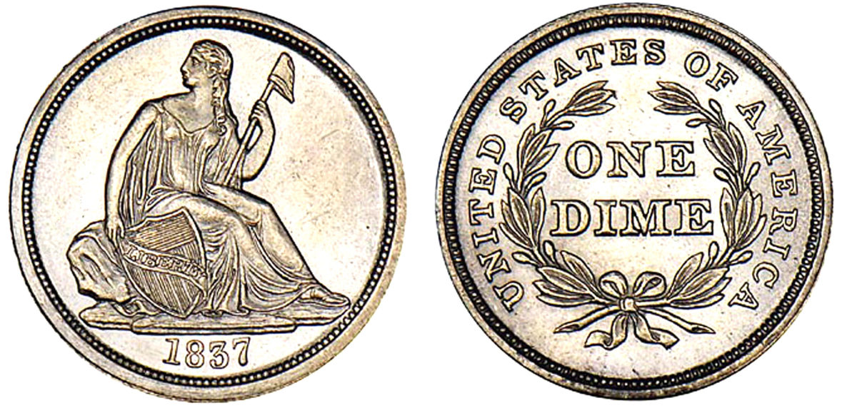 The Seated Liberty design was added to the dime and half dime in 1837. (Image courtesy of Stack's Bowers)