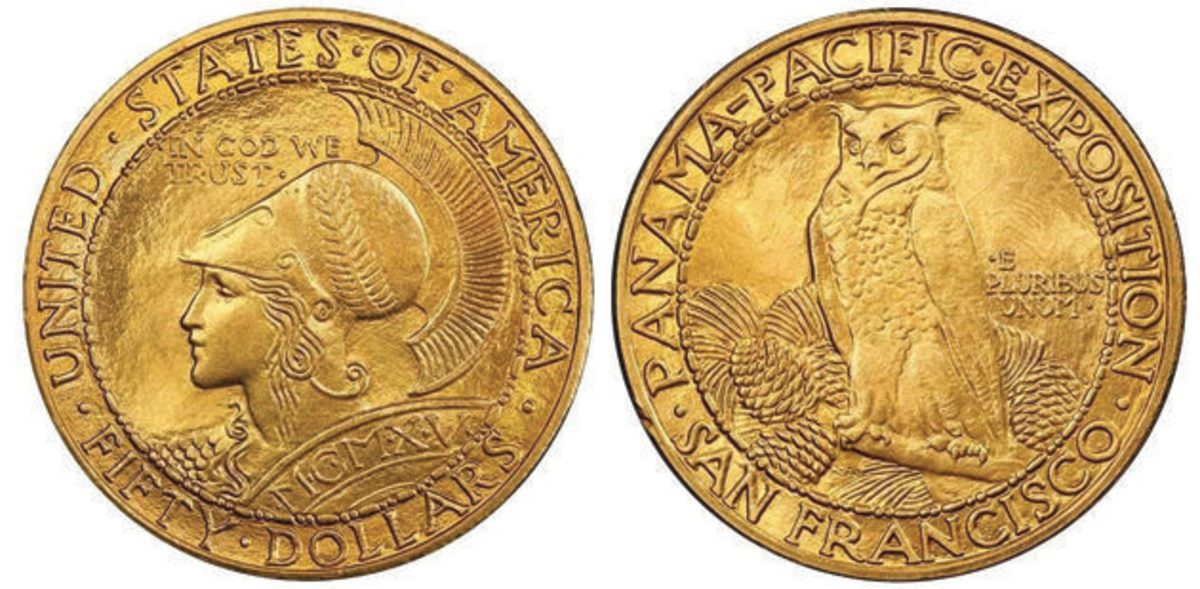A major highlight of the auction was this Panama-Pacific round $50. It sold for $114,562.50.