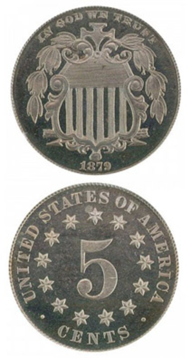 An assortment of circumstances at the time of its release explain why proof 1879 Shield nickels are today much cheaper than circulated examples. (Images courtesy of www.usacoinbook.com.)