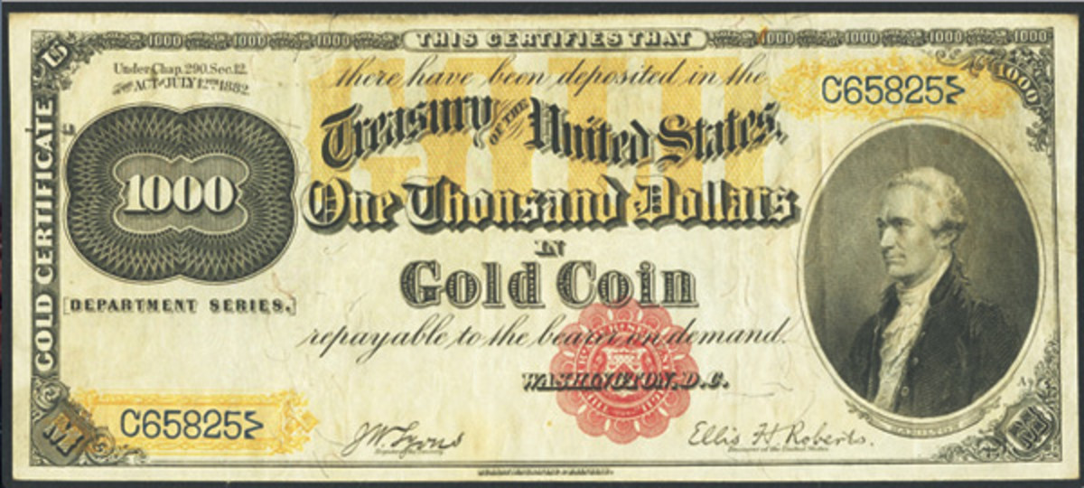 Selling for $270,250 was a Fr. 1218f 1882 $1,000 Gold Certificate said to be the finest known.
