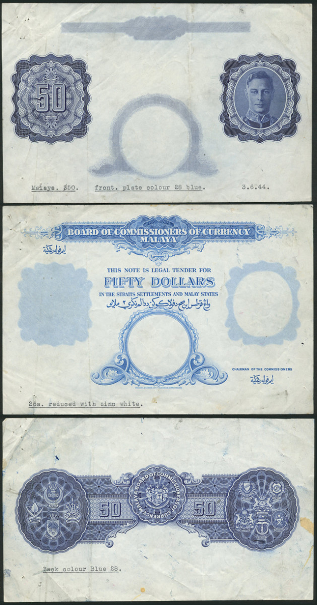 These rare progressive die proofs of Malaya 1944 George VI $50 (cf. P-14) are offered in Spink's December sale.