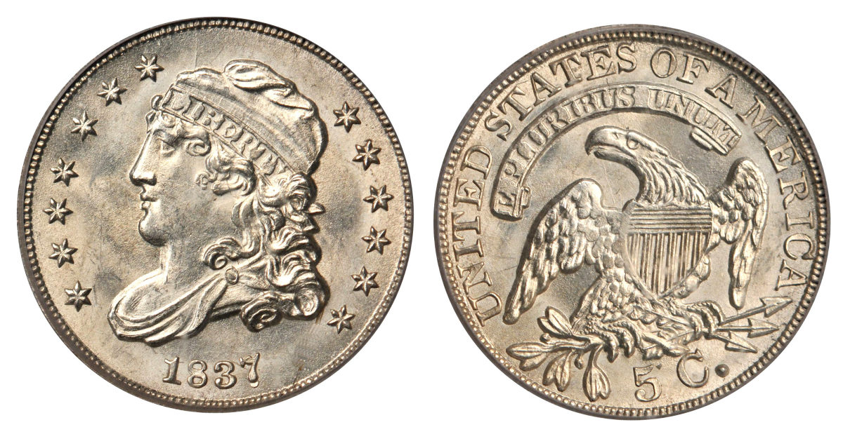 The Capped Bust design was used on dimes and half dimes during the first part of 1837. Images courtesy of Stacks Bowers
