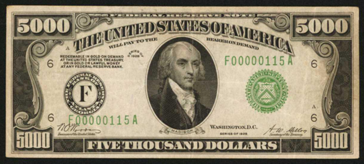 A 1928 Atlanta Federal Reserve Note, Fr. 2220-F, is estimated at $125,000 to $175,000.