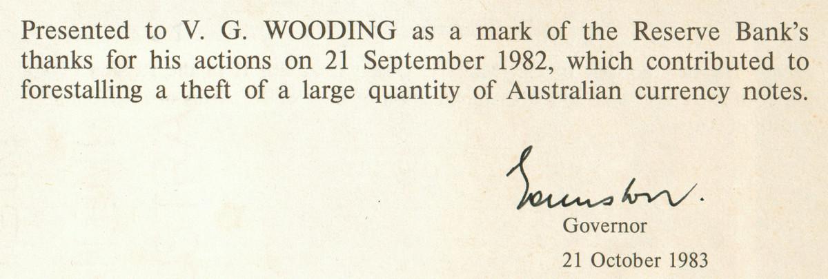 Presentation folder inscription. (Image courtesy Roxburys Auction House.)