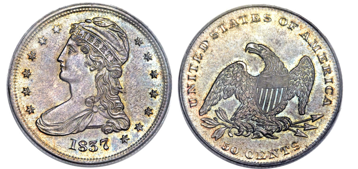 The 1837 half dollar. Images courtesy of Heritage Auctions