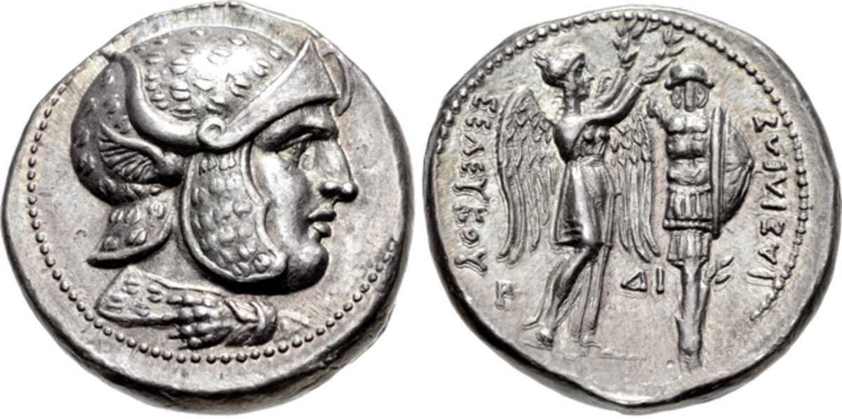 A highlight of the Triton XVIII sale is a silver tetradrachm, right, of Seleukos I Nikator of Syria, 312-281 B.C.E.. (26mm, 17.07 g, 2h). Susa mint. Struck circa 305/4-295 B.C.E. Head of hero facing right. On reverse Nike stands right, holding in both hands a wreath that she places on trophy. Estimate is $75,000.