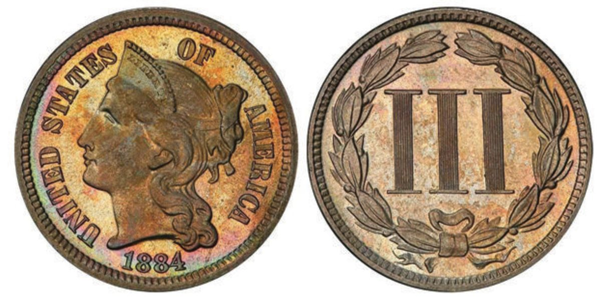 An 1884 3-cent nickel of the Seattle Collection brought a record-breaking $42,300. (All images courtesy Legend Rare Coin Auctions.)