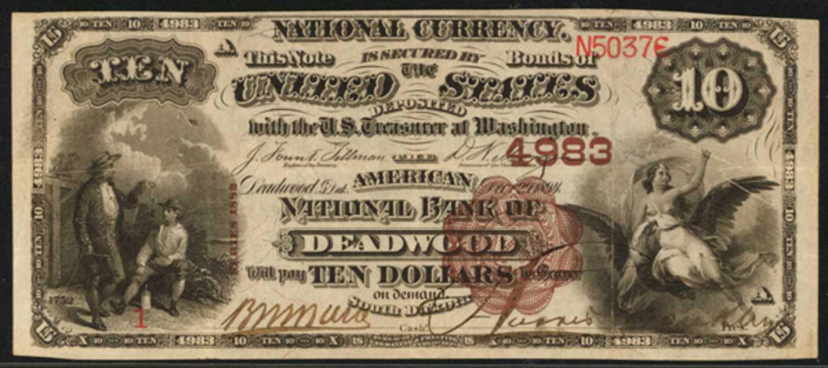This No. 1 1882 $10 note from The American National Bank of Deadwood, S.D., is the second documented to this bank.