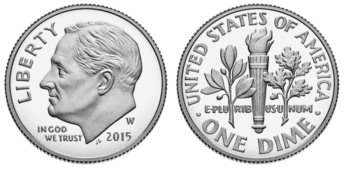 The 2015-W silver proof Roosevelt dime.