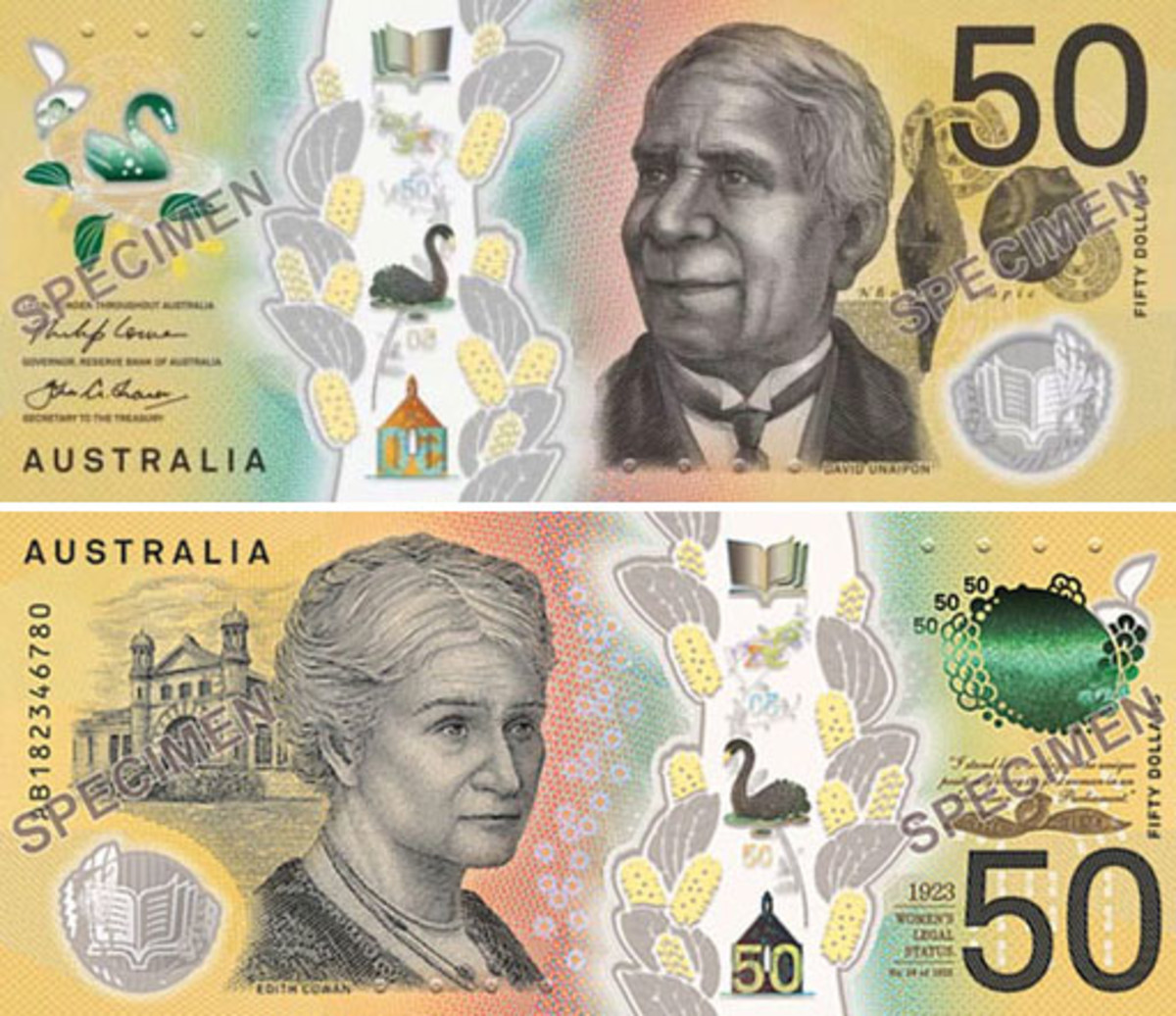 Face and back of Australia's new $50 bank note, to be placed in circulation later this year. (Images courtesy Reserve Bank of Australia.)