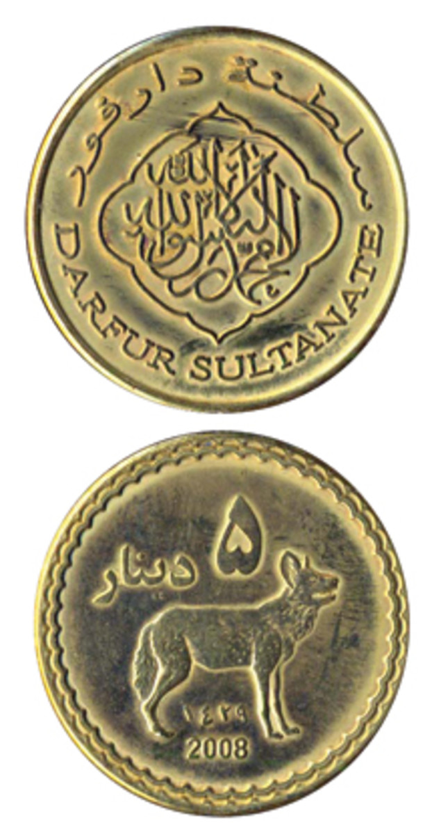 """Fantasy coins for the """"Sultanate of Darfur"""" have been issued by someone for some purpose. This one has been circulated, but where? And was it actually spent or just carried around in someone's pocket for a while?"""