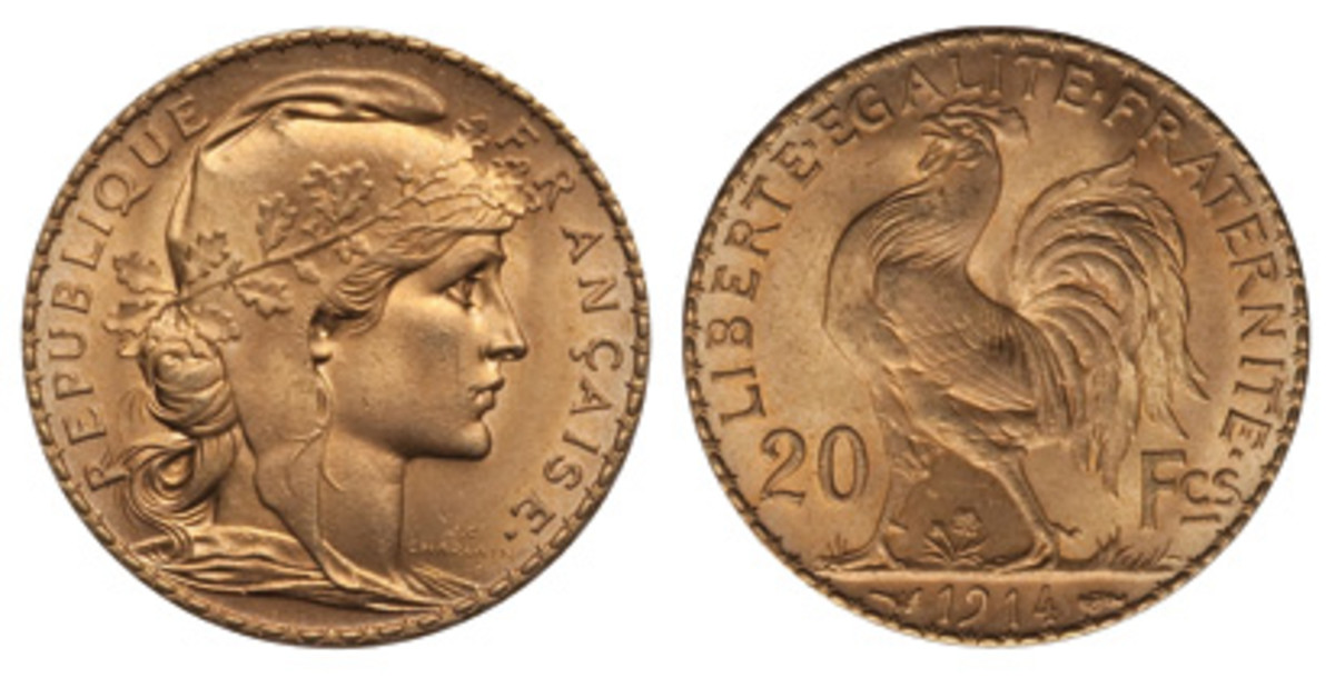 A taste of the exotic comes with French 20-franc coins. This design ended with the outbreak of World War I in 1914.