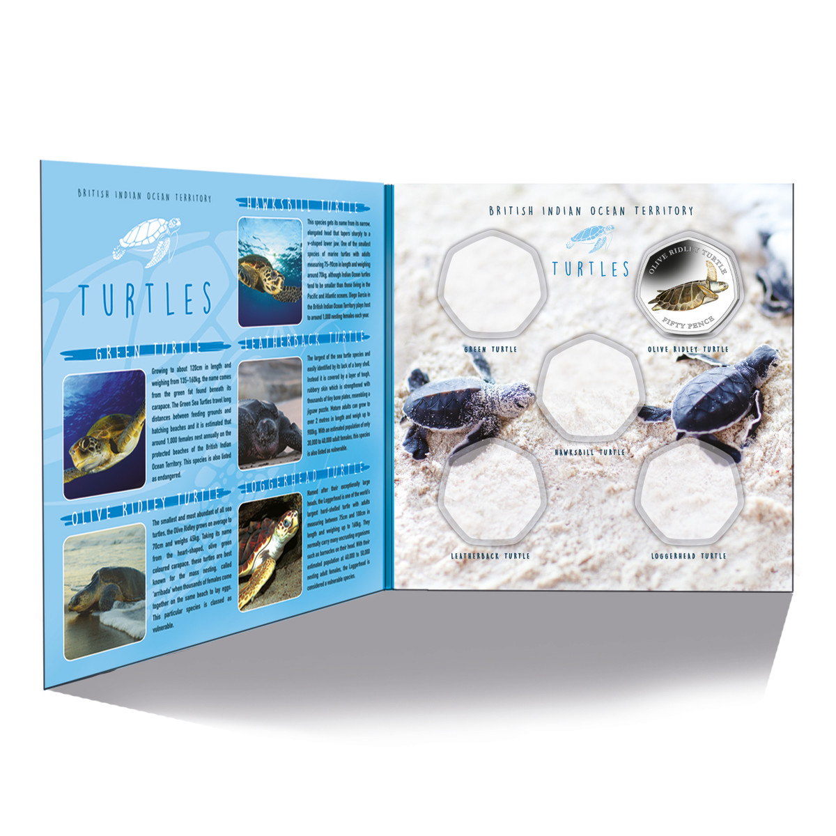 The Sea Turtle story board album houses all five of the coins in the popular Sea Turtle series struck by Pobjoy Mint for The British Indian Ocean Territory.