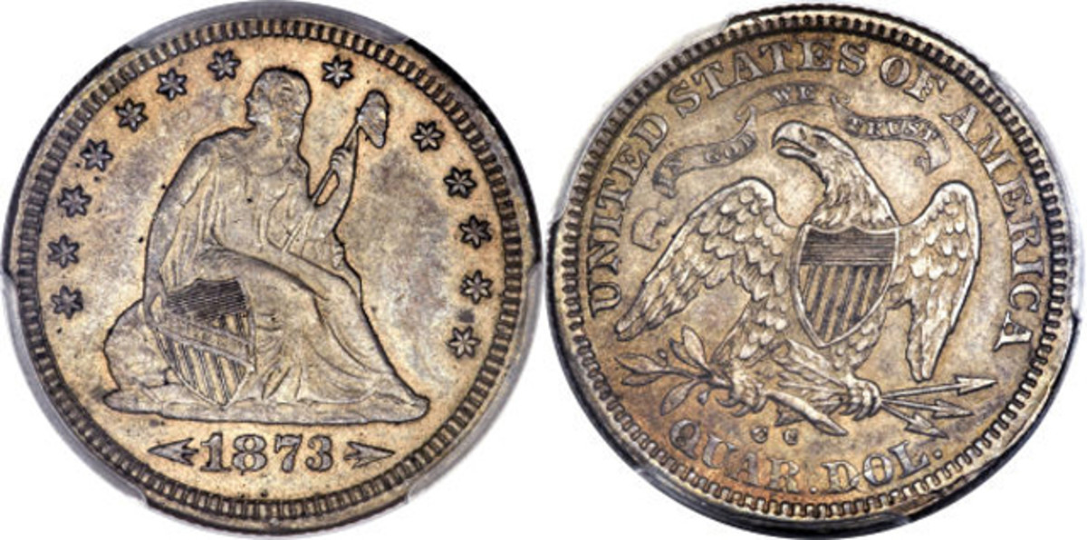 The Gardner PCGS AU-55 1873-CC arrows at date Seated Liberty quarter.