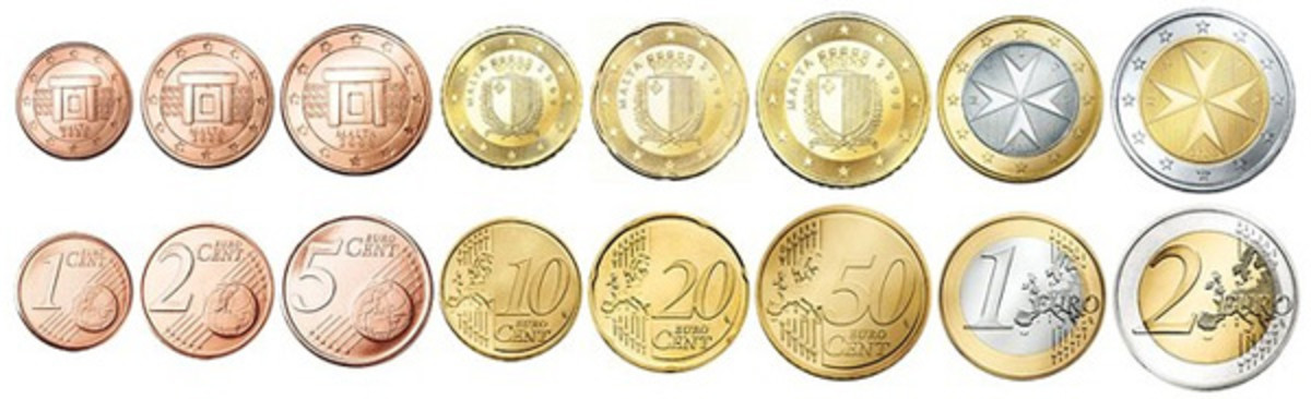 The eight circulating denominations of euro coins. (Image courtesy www.coins-auctioned.com)