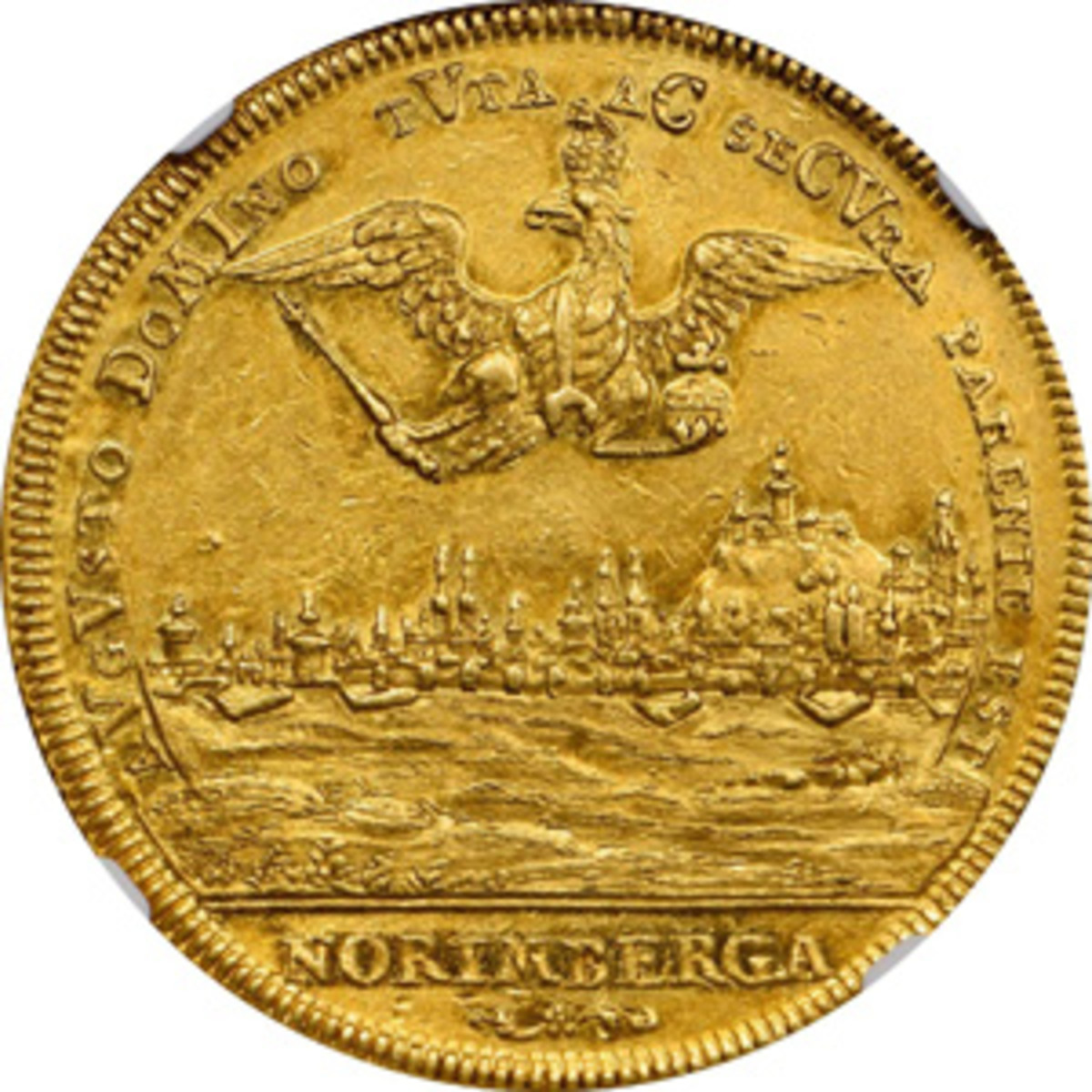 Reverse of Nürnberg 8 ducat whose 1721 date is shown as the chronogram MDCCVVVVI in the reverse legend. (Image courtesy Stack's Bowers)