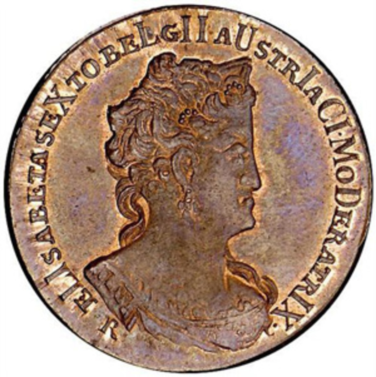 Chronogram date of MDDCLLXXVIIIIII, or 1731, is worked into the obverse legend of this Austrian Netherlands' jeton. (Image courtesy Stack's Bowers)