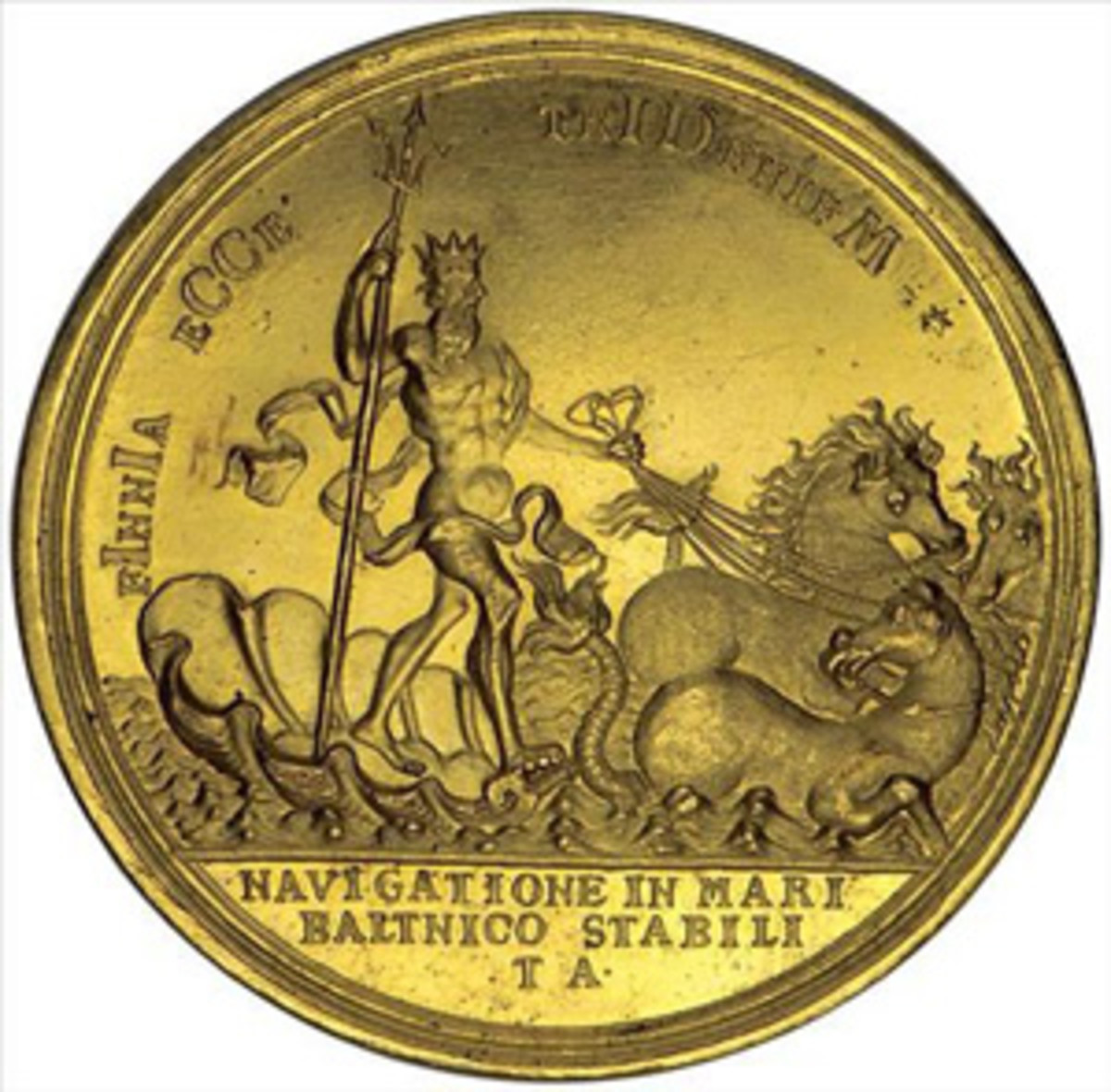 Peter the Great medal with chronogram date of MDCCIII = 1703. (Image courtesy Stack's Bowers)