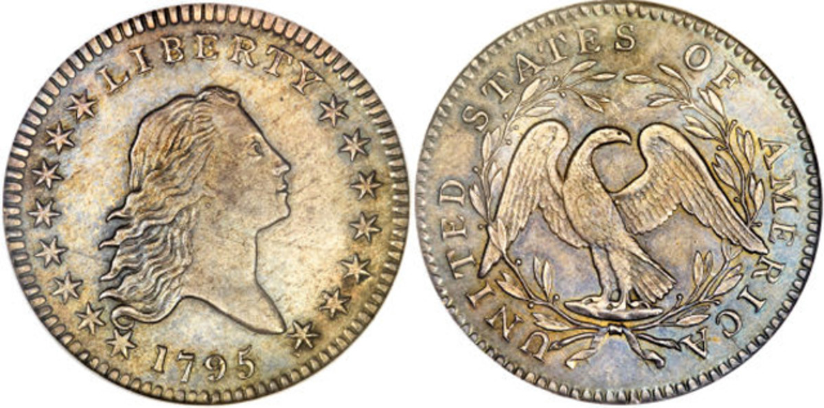 The Gardner NGC MS-61 1795 two leaves (O-104) Flowing Hair half dollar.