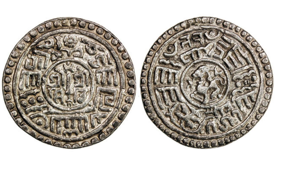 This Kingdom of Patan Mohar from 1641 realized over four times its estimate, selling for about $240. Most of the Nepal coins in this sale from the Kingdom of Patan brought very good prices.