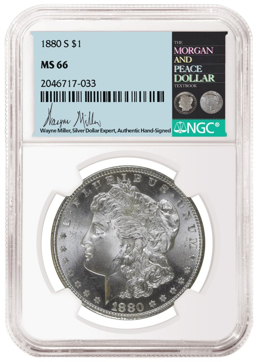 Example of hand-signed label by Silver dollar expert, Wayne Miller. Image courtesy of Numismatic Guaranty Corporation.