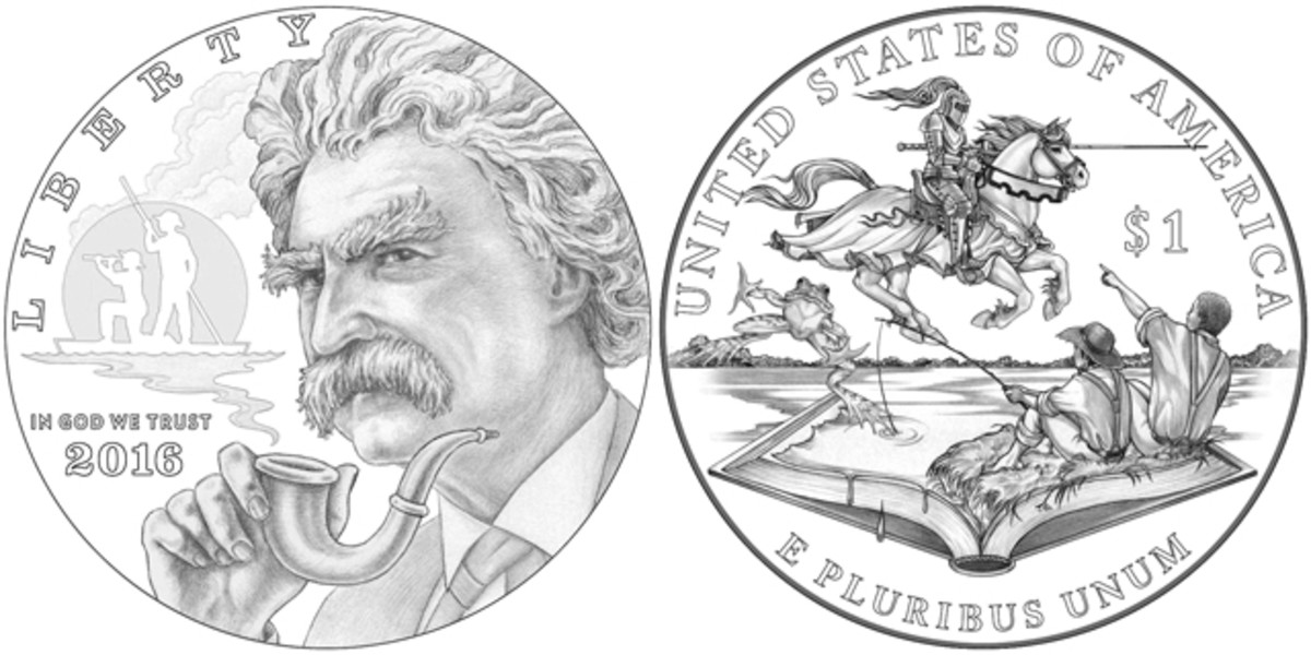 Obverse (left) and reverse (right) of the 2016 Mark Twain silver coin.