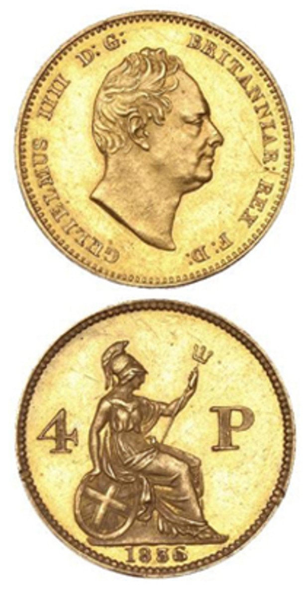 Rare Wyon 1836 pattern groat of William IV in gold that fetched $12,883. (Images courtesy DNW)