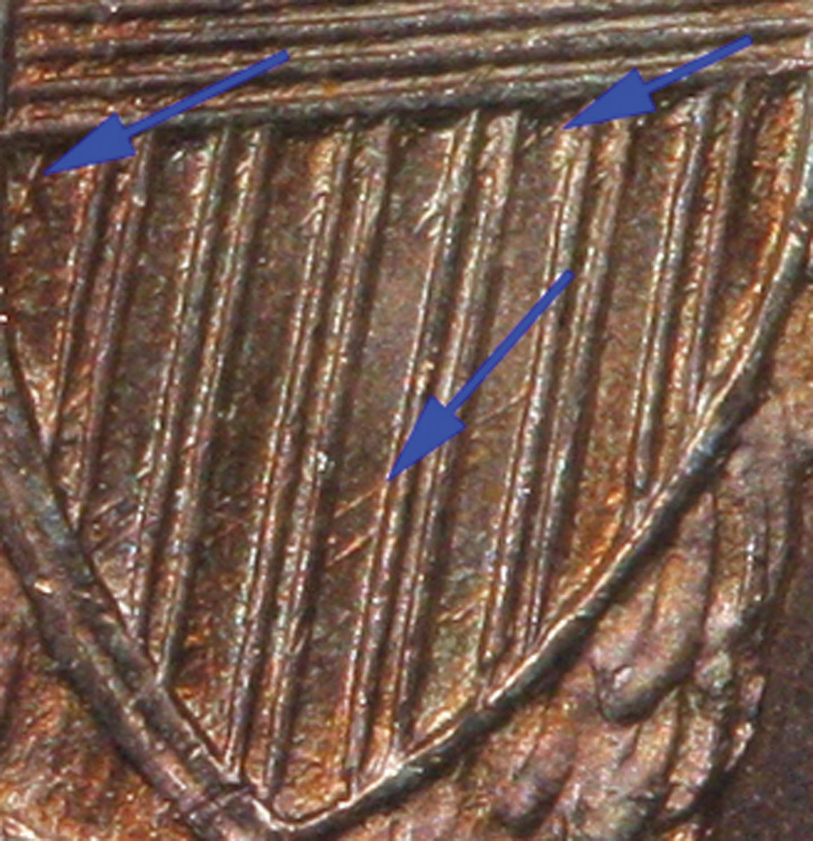 Figure 2. Business Strike Reverse (Briggs' A) Note distinctive die scratches in shield. Image provided by Gene Gardner (2009).