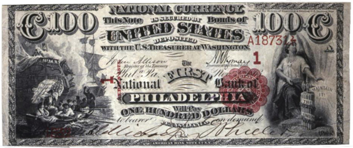 This is the only surviving $100 from the Philadelphia 20-20-50-100 plate, a note that went through the Bluestone sales of the Albert Grinnell collection in 1946. (Martin Gengerke photo courtesy of nbncensus.com)
