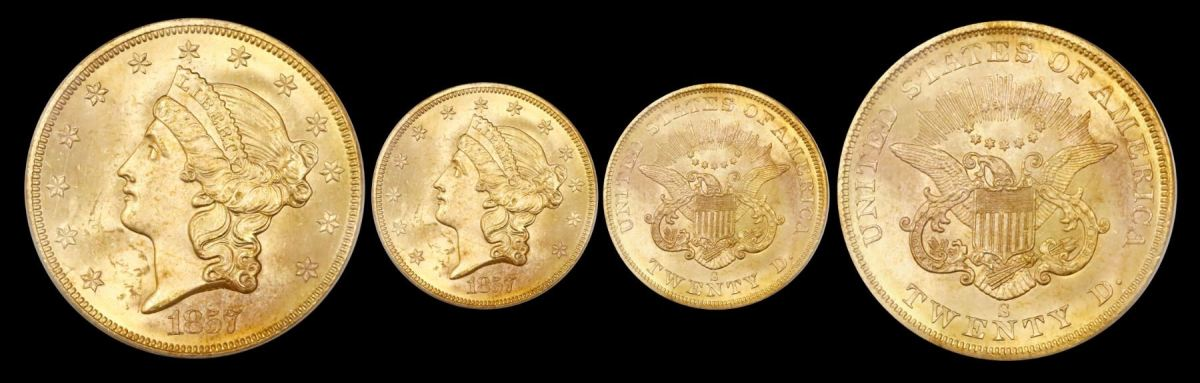 A gold $20 coronet Liberty double eagle from 1857 sold for $8,330.
