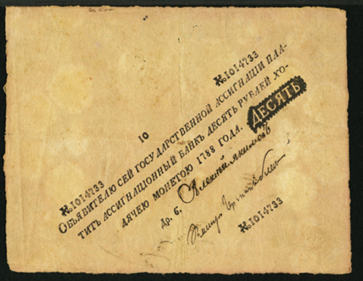 Russian State assignat for 10 rubles dated 1788 (P-A9a) with text printed on the slant and showing embossed seals. In PMG Very Fine 25 Net with ink burn and minor repairs, it still found a new home for $33,600. SCWPM prices it at $2,000 in F. (Image courtesy and © www.ha.com)