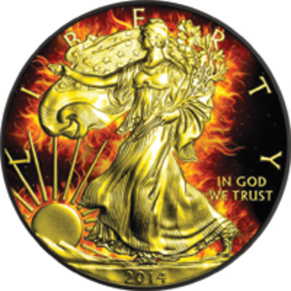 Walking Liberty's fiery aura: 2014 U.S. one-ounce silver Eagle fully plated with ruthenium and then selectively over-plated with gold. (Image courtesy Power Coin www.powercoin.it)