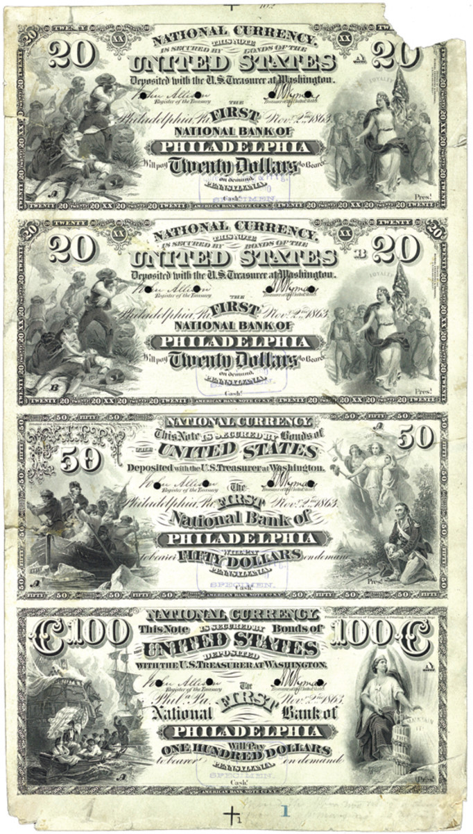 """Series of 1875 proof lifted from the Philadelphia 20-20-50-100 plate by the BEP after they altered it by changing the Treasury signatures and adding the """"Printed at ..."""" imprint."""