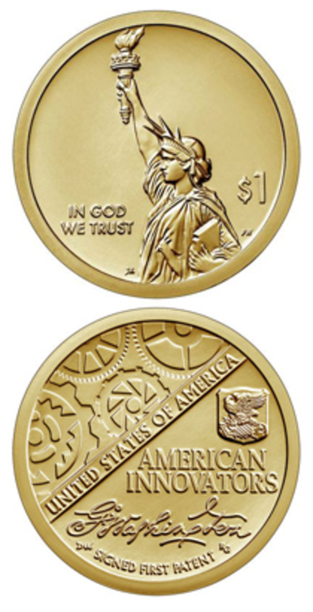 The obverse design of the American Innovators dollar coin (top) looks kind of empty.