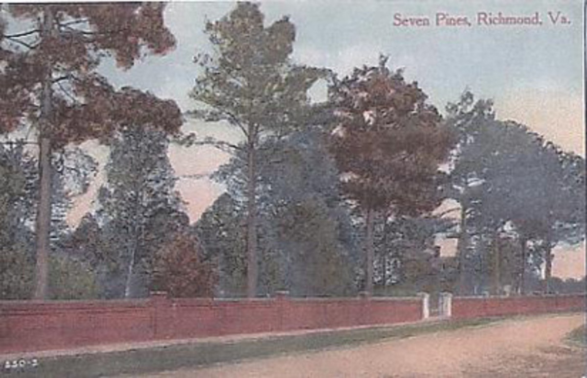 This vintage postcard shows the entrance to the Civil War cemetery at Seven Pines.