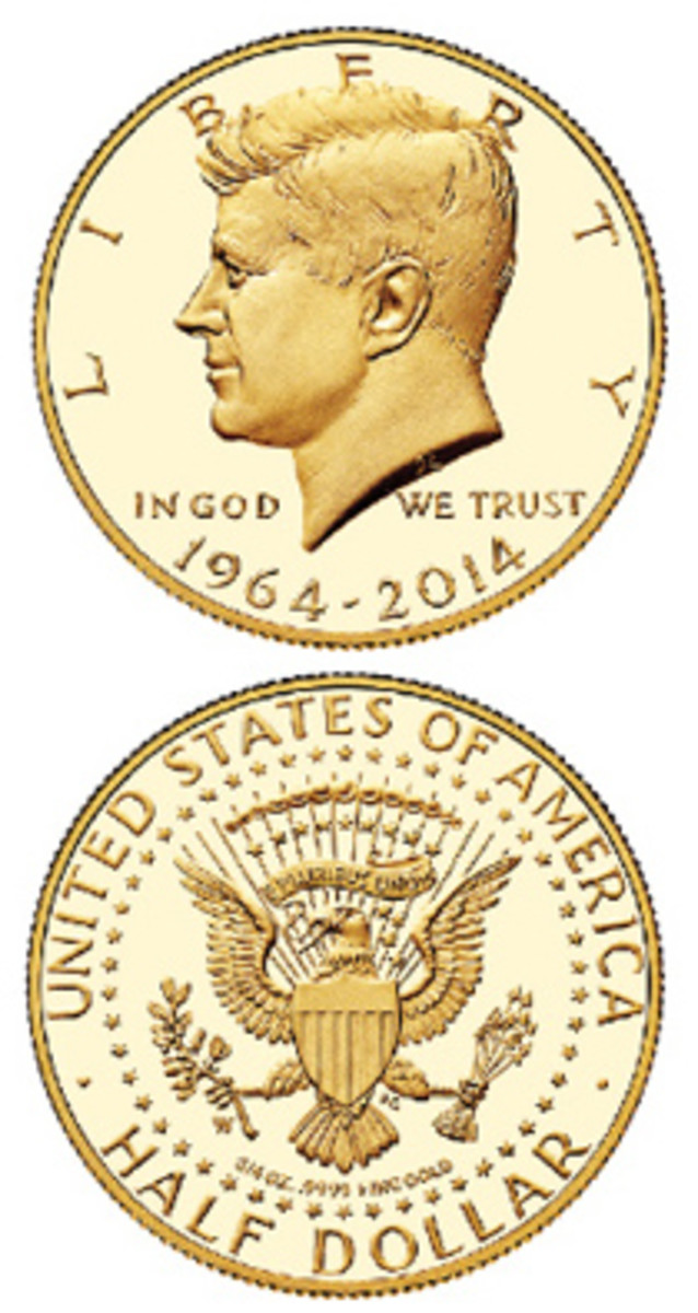 The 50th anniversary of the Kennedy half dollar was celebrated with a three-quarter ounce gold version.