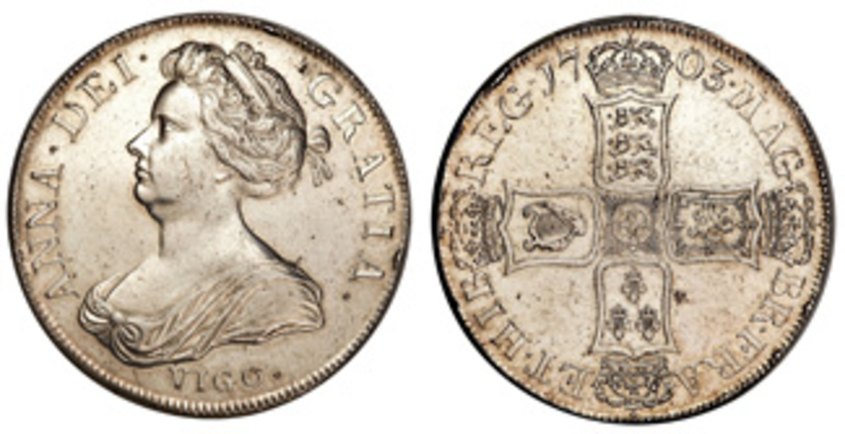 1703 silver crown (5 shillings) with VIGO. (Images courtesy Heritage)
