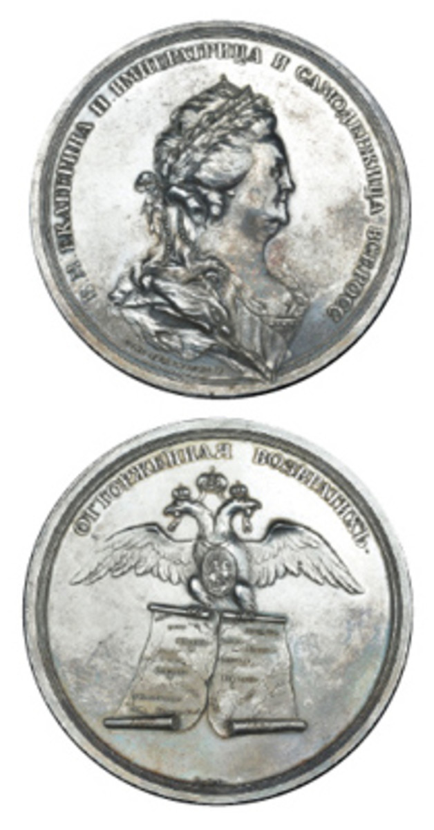 Rare silver Russian commemorative struck to mark the second partition of Poland. It realized $19,152, or well over three times upper estimate in EF. (Images courtesy DNW)