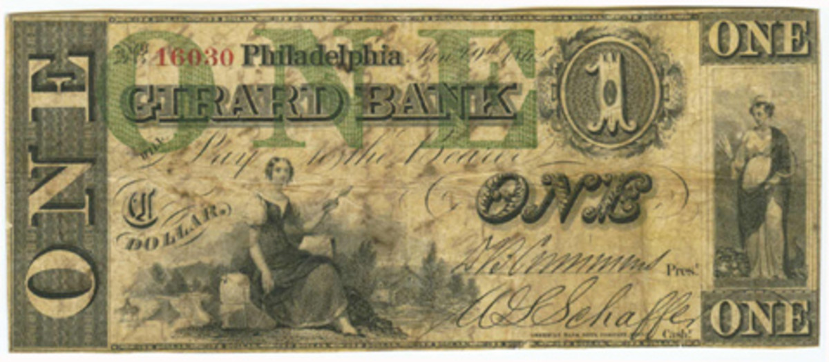 This $1 bank note issued by the Girard Bank of Philadelphia (later the Girard National Bank) was found on the body of a dead Federal colonel at the Battle of Seven Pines, Va., in 1862.