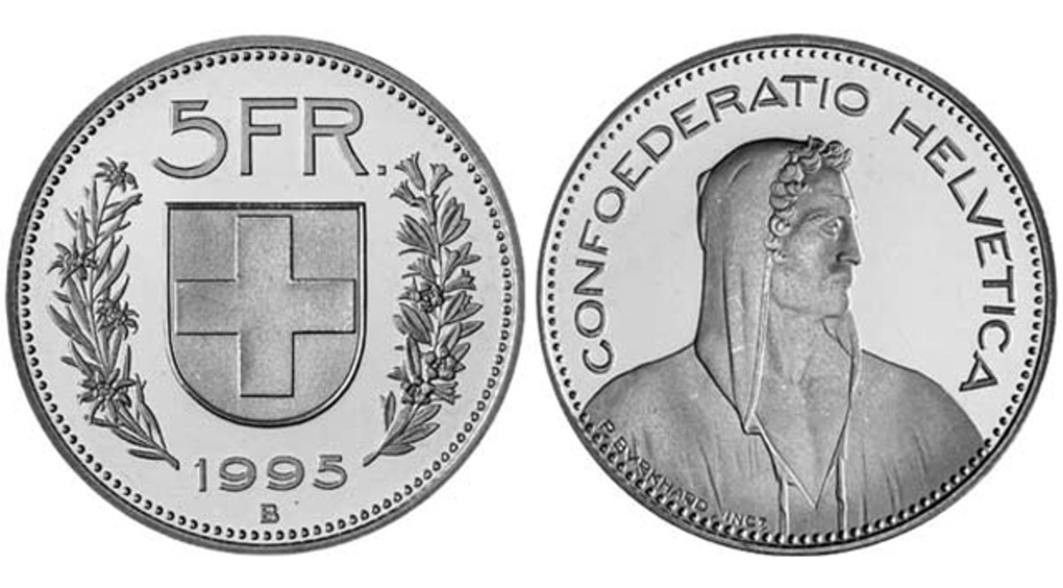 Counterfeit 5-franc coins of Switzerland are appearing in greater numbers than before.