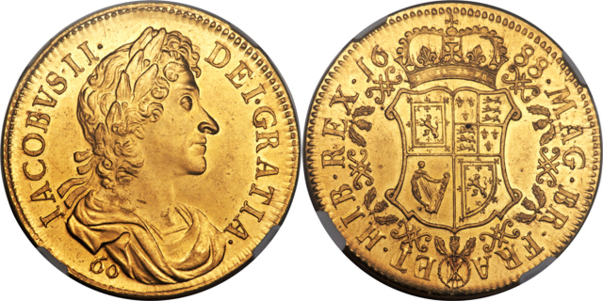 The James VII/II gold restrike Scottish 60 Shillings of 1688, S-5635 that took $76,375 in MS62 NGC, at Heritage's NYINC sale. The crowned and garnished complex coat of arms of England, France, Scotland and Ireland lie within a collar of the Order of the Thistle. Image courtesy www.ha.com.