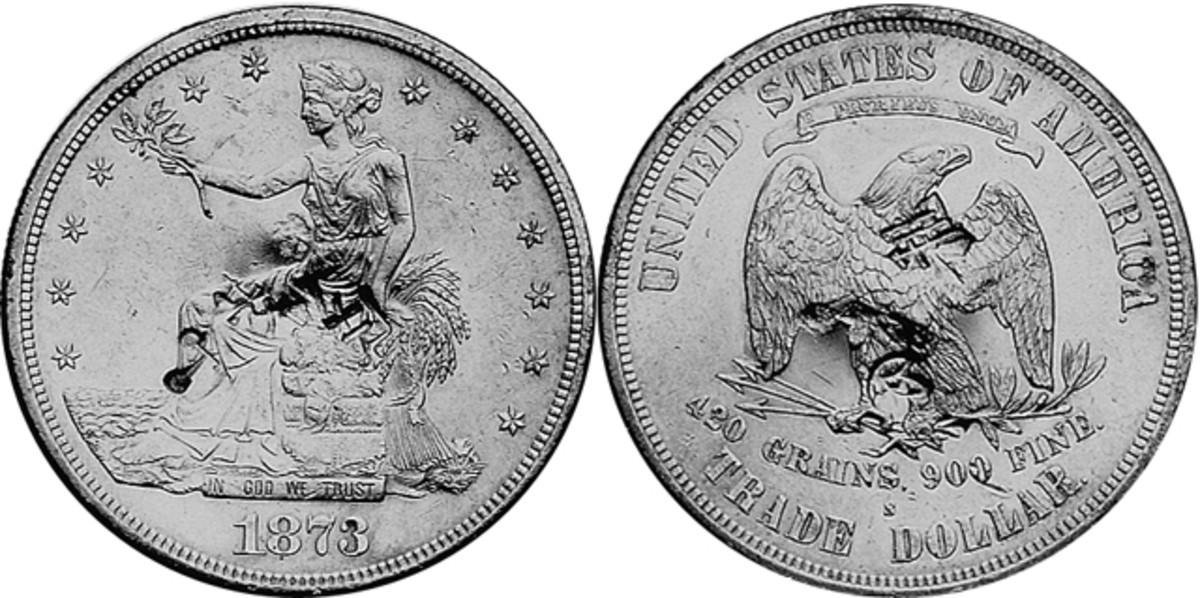 A chopmarked 1873-S Trade dollar.