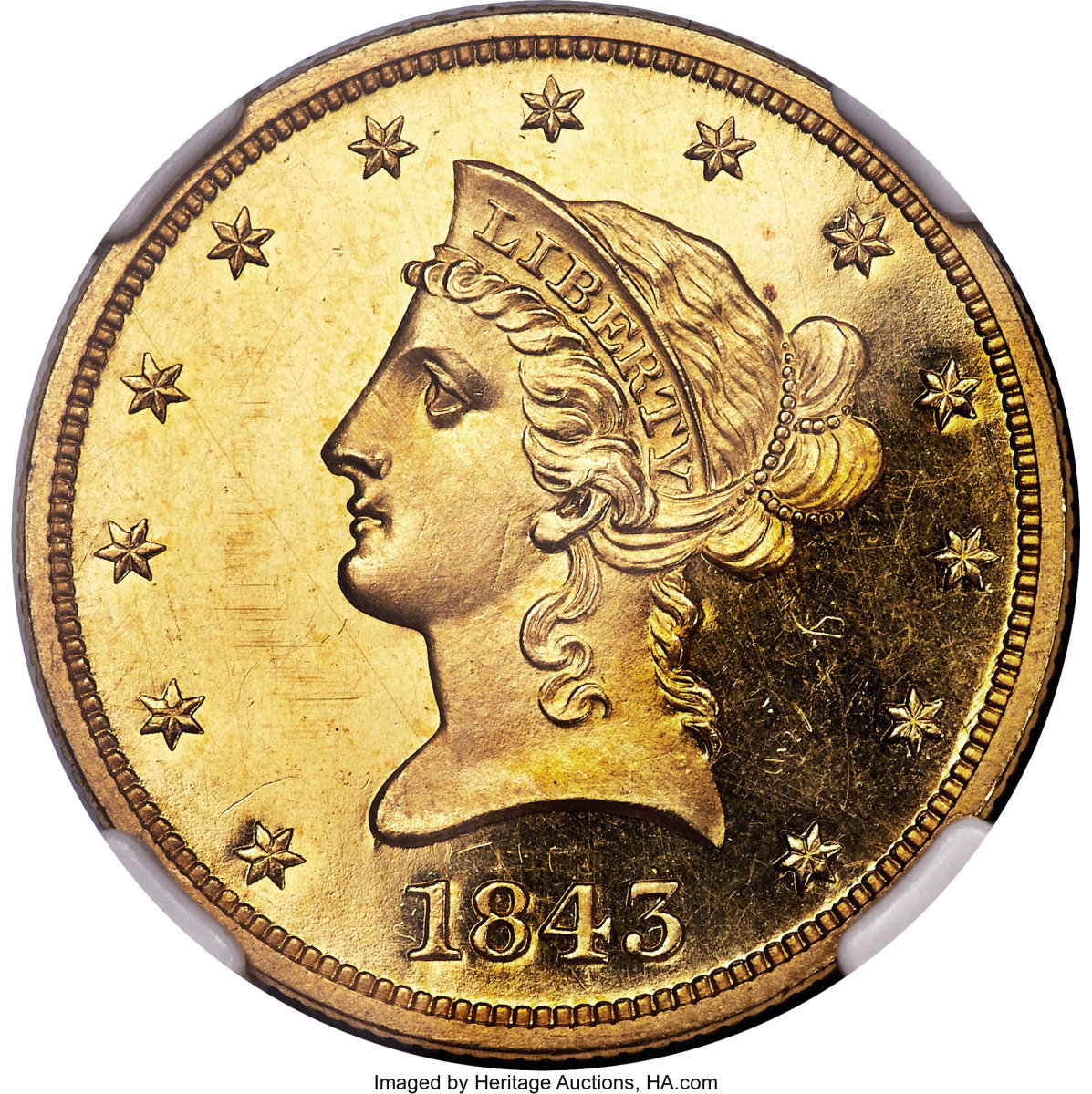 This ultra-rare 19th century gold proof 1843 ten dollar, in PR64 Deep Cameo sold for an astounding $480,000. (Image courtesy of Heritage Auctions)