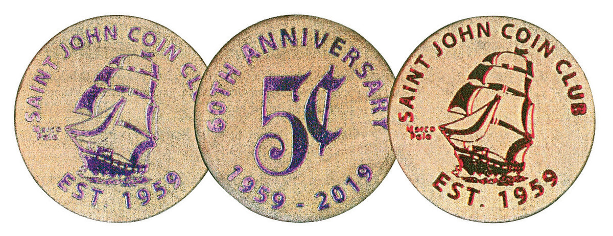 A wooden nickel commemorating 60th Anniversary of the Saint John Coin Club of New Brunswick, Canada, features an image of the Marco Polo sailing ship.