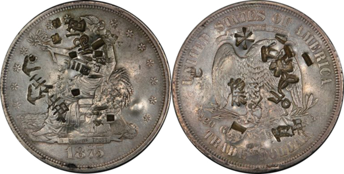 David Reimer's chopmarked 1875 Trade dollar.