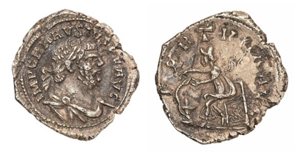 The one-of-a-kind silver denarius of Carausius, unearthed 30 years ago but identified only in the past two years. It will be offered for sale by Hansons auction house on August 27. (Images courtesy and © Hansons)