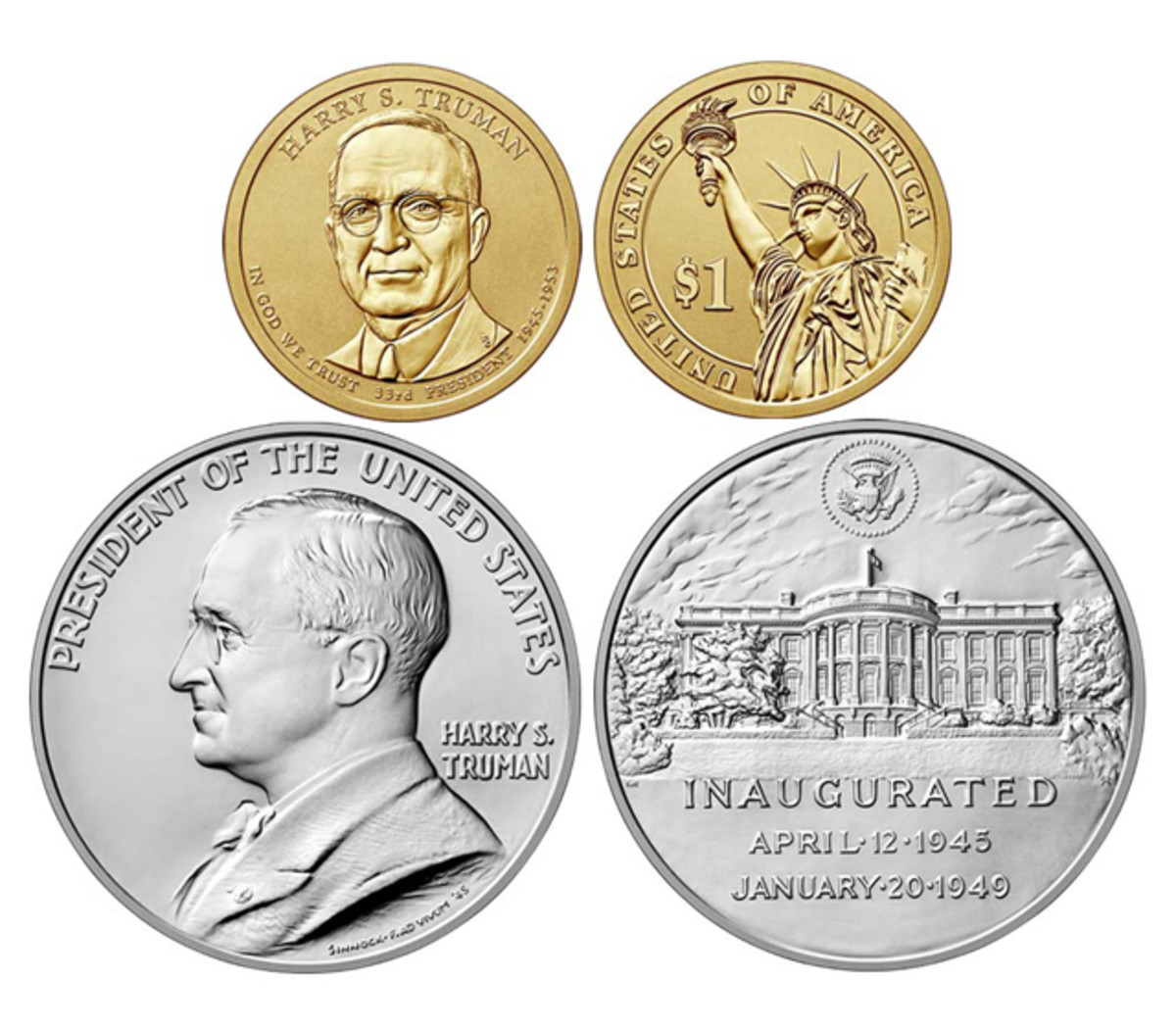The set contains a silver Truman inauguration medal and a 2015 reverse proof Truman Presidential dollar, the first for the series.