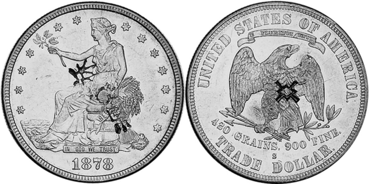 A chopmarked 1878-S Trade dollar.